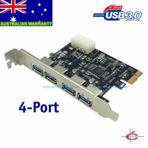 USB 3.0 PCI-Express Card for Desktop PC - 4 Ports, Molex Power