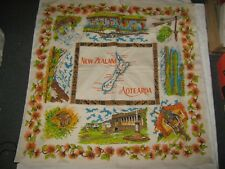 A Retro Vintage New Zealand Aotearoa Tourist Printed Linen Tablecloth 3' Square