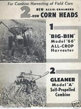Farm Equipment Brochure - Allis-Chalmers - Corn Heads for 66 Gleaner A (F3305)