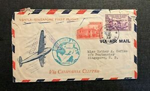 1941 Manila Philippians Clipper First Flight Cover to Singapore