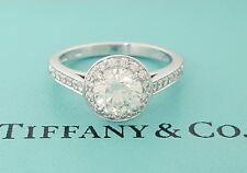 1.23 ct Tiffany & Co Embrace Platinum Round Cut Diamond Halo Engagement Ring 3EX
