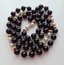 Vtg Deco Chinese Genuine Black Jade Natural Pearl 14k Gold Beads Long Nacklace