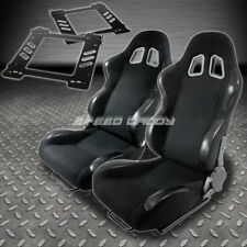 PAIR TYPE-4 RECLINING BLACK CLOTH RACING SEAT+BRACKET FOR 92-99 BMW E36 2-DR