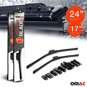 """OMAC Premium Wiper Blades 17"""" & 24 Combo Pack for Nissan Rogue Sport 2017-2020"""