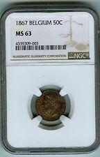 Finest Certified Belgium 1867 50C NGC MS 63
