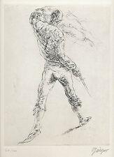 Willi Geiger. Der Matador. Original-Radierung, signiert/nummeriert