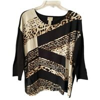 Zenergy By Chicos Womens Blouse Black Stripe Leopard 3/4 Sleeve Scoop M/8