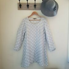 Flax Linen Dress Gray White Polka Dots Long Sleeves A Line Scoop Neck Small