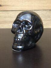 Black Skull Rainbow Anodized MetallicTitanium Styled Ceramic Figurine Home Decor