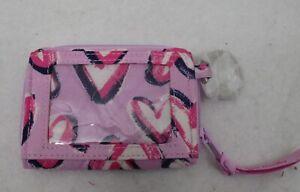 Vera Bradley Petite Zip Around Wallet Hearts Iced Pink NWT