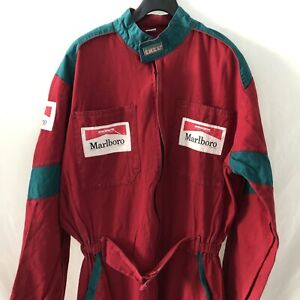 Vintage Marlboro Overall Racing Suit Red Green AMX 87 Size 52