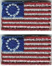"""5/8"""" x 1"""" Lot of 2 Tiny Micro Betsy Ross Flag Tab Patch"""
