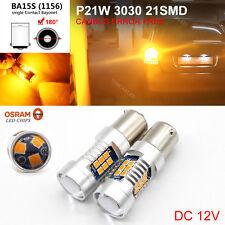 2x Amber Yellow 1156 BA15S P21W S25 21 SMD 3030LED Car Auto Brake Indicator Bulb