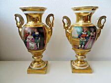 Ancienne paire de vase en porcelaine de Paris XIXème (empire)