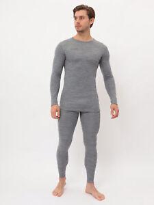 Mens Gray Thermal 100% Merino Wool Dual layer Base layer Set
