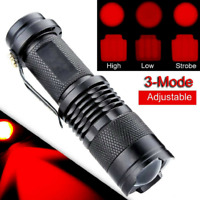 Red Light LED Flashlight 3-Modes Red Torch Lamp Astronomy Night Vision Camping