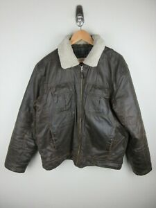 Thomas Cook Heavy Weight Mens Jacket Size M Sherpa Lined Faux Leather