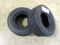 TWO New 11X4.00-5 Carlisle Straight Rib Ribbed Tires 4 Ply 5180111 w/ free stems