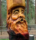 Wood Spirit Carving Forest Face Tree Wizard Log Home Gnome Cabin Folk Art