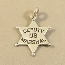 .925 Sterling Silver DEPUTY US MARSHALL BADGE CHARM Pendant NEW Police 925 WK21
