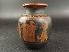 Superbe Vase, Terre Cuite Tournée, Décor, fond Noir. Grèce Antique. Archéologie