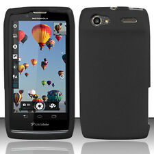 For Motorola Electrify 2 Rubber SILICONE Skin Soft Gel Case Phone Cover Black