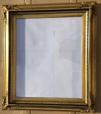 "Pre Owned Reproduction Gold/ Solid Wood Ornate Carved Large Picture Frame.31""X26"