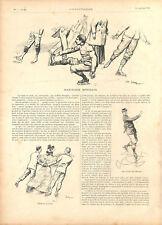 Patinage avec figures et valse Club Select Bois de Boulogne Paris  GRAVURE 1894