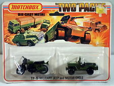 DTE 1975 LESNEY MATCHBOX SUPERFAST TWIN PACK TP-11 MILITARY JEEP & MOTORCYCLE