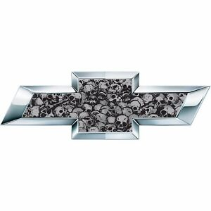2 Black Skulls Universal Chevy Bowtie Vinyl Sheets Emblem Overlay