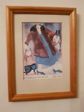 """Vintage Erika Oller Signed Print """"All Dressed Up and Dont Want to Go"""""""