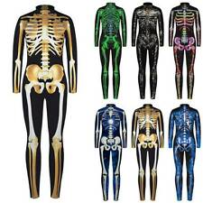 Halloween Cosplay Womens 3D Skeleton Jumpsuit Catsuit Costume Outfit Fancy Dress