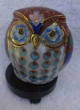 Vintage cloisonne enamel brass owl on wooden base