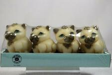 Harmony Ball Pot Bellys Shape 'White Kitten Tea Light Candles' Set 4 #Ctki2 Nib