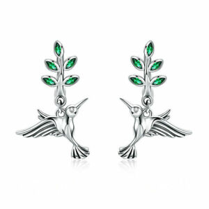 Authentic 925 Sterling Silver Greetings From Hummingbirds Hoop Earrings Jewelry