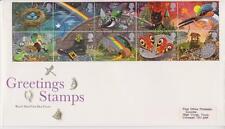GB Royal Mail FDC 1991 saludos suerte sello conjunto Pegatina Truro PMK Po