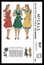 Bib APRON Fabric Material Sewing Pattern SEXY Vintage 1940s McCall # 917 ~SMALL