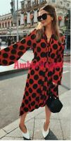 Zara Red Polka Dot Midi Flowing Dress Neck Bow SIZE S UK 8 10