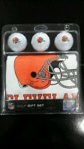 Cleveland Browns Deluxe Golf Gift Set 3 Logo Balls 15x25 Towel w/Grommet
