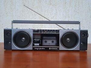 Rare Mini Hitachi TRK 6701 W Top of the Line Mini Boombox Ghettoblaster used