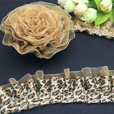 DIY 5 Yards 2-Layer 40mm Leopard Lace garment accessories Gathered Pleated Trim
