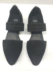 Eileen Fisher Vero Cuoio Womens Heel Zip Almond Toe Slip On Black Flats Size 10