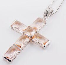 925 Sterling Silver Cross Pendant Morganite Big Cross Pendant Necklace
