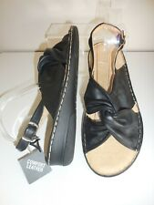 fa305f3c5cd2 Flat Black Leather Comfort Fit Sandals Size 9 UK Wide EEE BNWT Evans RRP £45