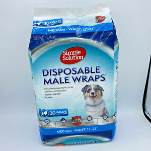 """Simple Solution Disposable Dog Diapers for Male Dogs Male Wraps Medium 15""""-23"""""""