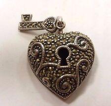 925 sterling silver pendant HEART lock n key  with Marcasite  Judith Jack