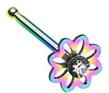 Nose Ring Rainbow Flower Icon  Nose Stud  20g