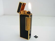 DUNHILL Rollagas Lighter Gold Black Lacquer Gas leak W/4p O-rings Auth Swiss