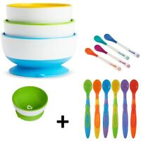 Munchkin Suction Feeding Bowl Pck of 3 Stay Put Baby Toddler Add Munchkin Spoons