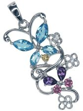 Blue Topaz & Amethyst Gemstone Cluster Butterfly Sterling Silver Pendant + Chain